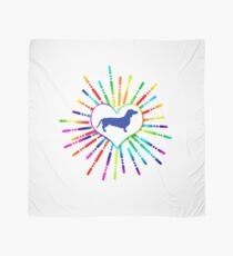 Colorful heart with dachshund blue Scarf