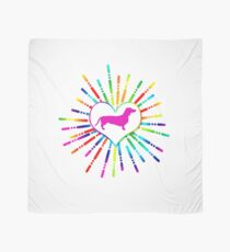 Colorful heart with dachshund pink Scarf