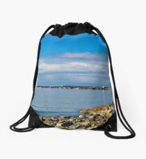 View Towards The Cobb - Lyme Regis Drawstring Bag