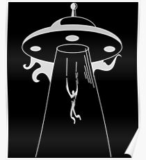 Alien Abduction Retro Flying Saucer Poster