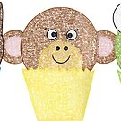 Cat, Monkey, and Frog Cupcakes by emilykcreations