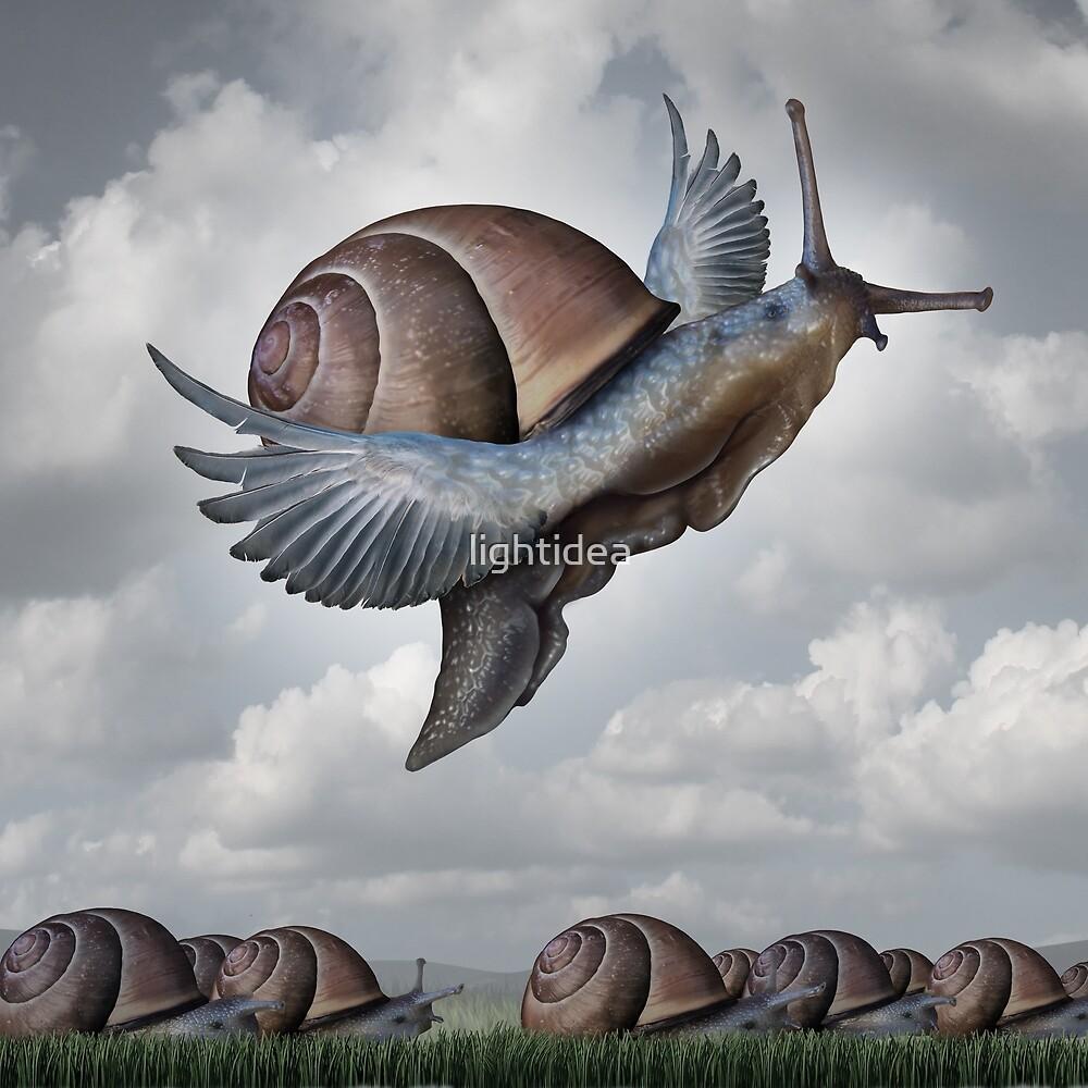 Motivational Concept as a snail Conquering competition as a creative surreal conceptual idea by lightidea