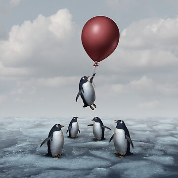 Thinking Different Concept surreal idea as a group of penguins with an individual game changer thinker motivational art by lightidea