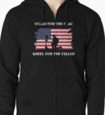 Stand For The Flag Kneel For The Fallen Zipped Hoodie
