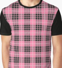 Scotland Woodcutter Buffalo Check Design - Light Pink Color Model Graphic T-Shirt