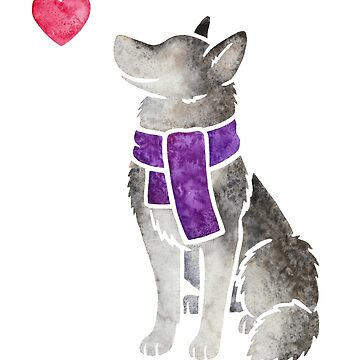 Watercolour Siberian Husky by animalartbyjess