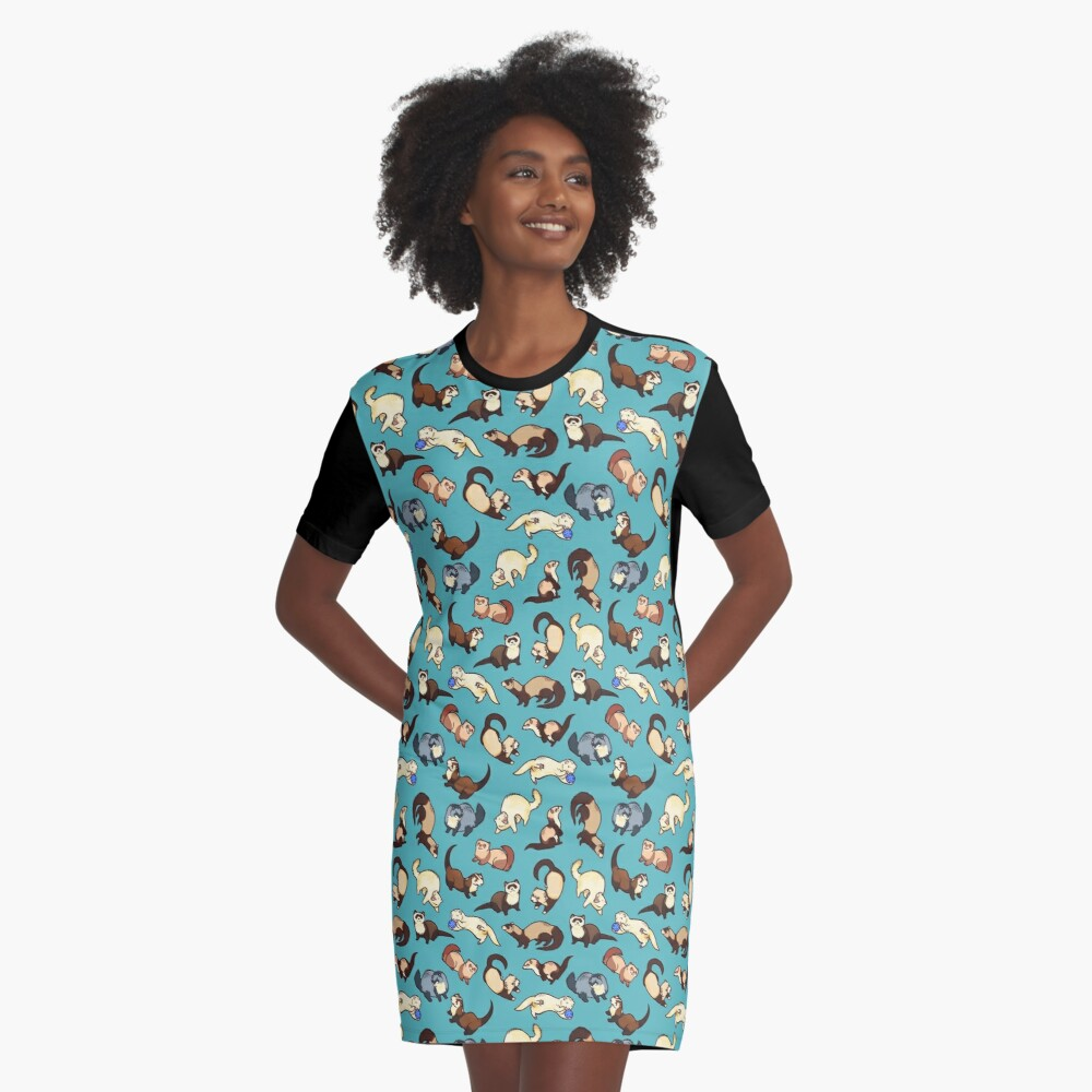 cat snakes in blue Graphic T-Shirt Dress