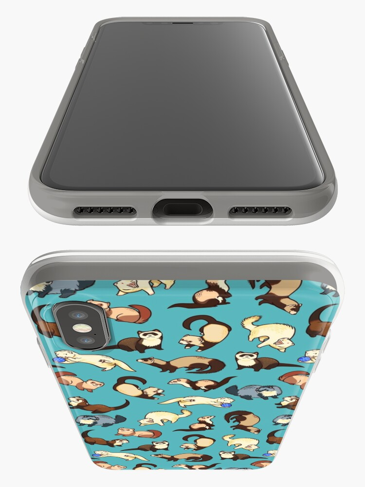 Alternate view of cat snakes in blue iPhone Cases & Covers