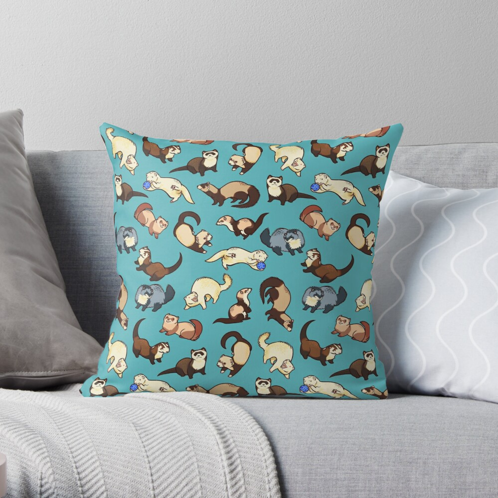 cat snakes in blue Throw Pillow