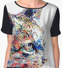 Psychedelic cat painting Chiffon Top