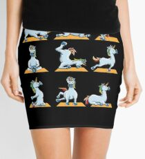Unicorn Yoga Poses Shirt - namaste funny yoga zen Mini Skirt