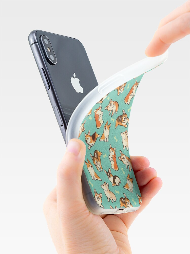 Alternate view of Jolly corgis in green iPhone Cases & Covers