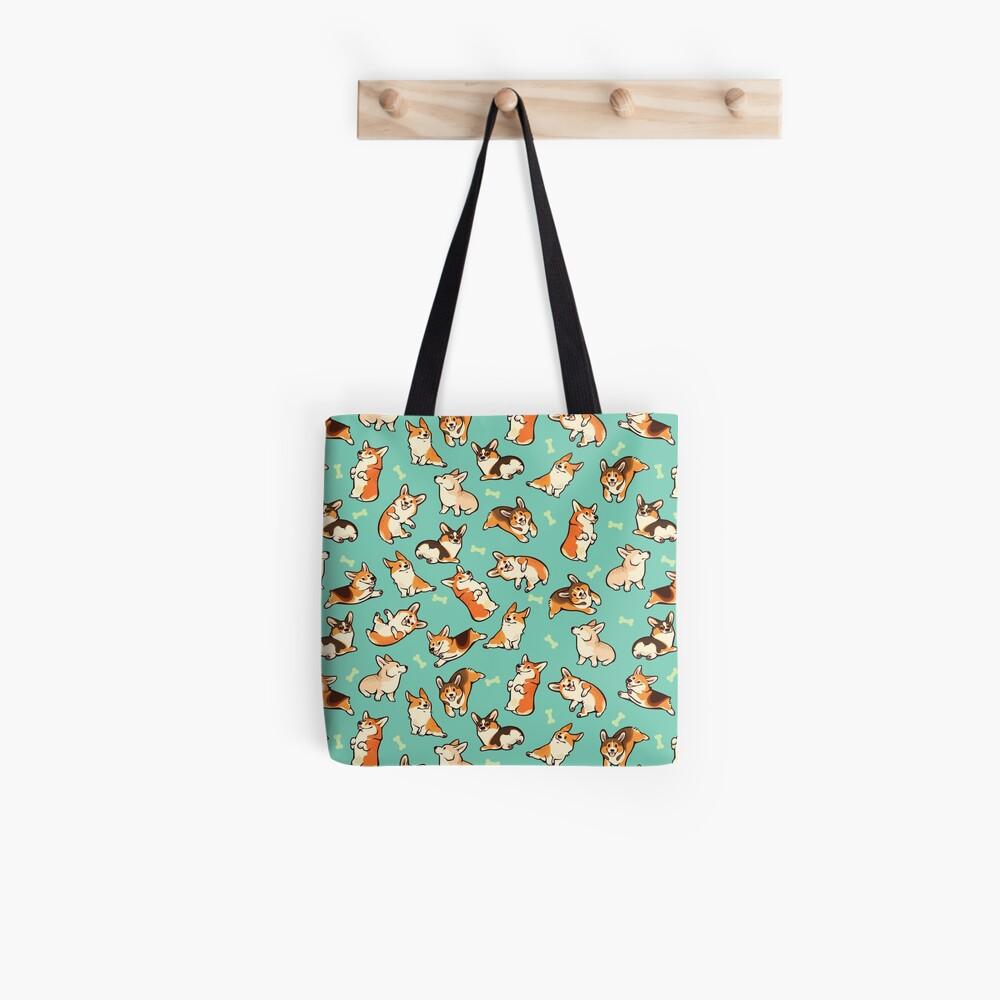 Jolly corgis in green Tote Bag