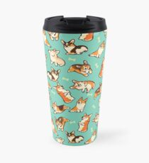 Jolly corgis in green Travel Mug