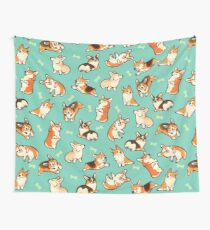 Jolly corgis in green Wall Tapestry