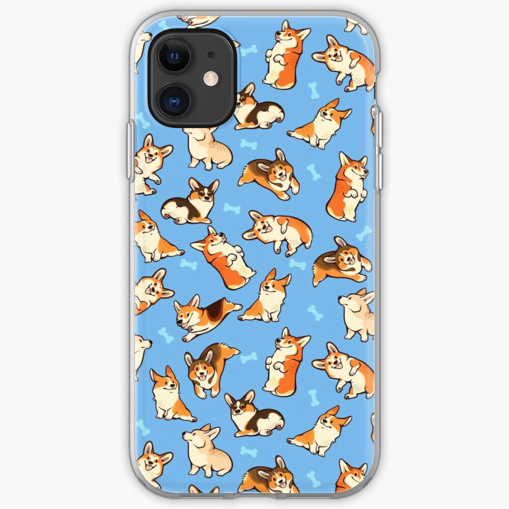 Jolly corgis in blue iPhone Case & Cover