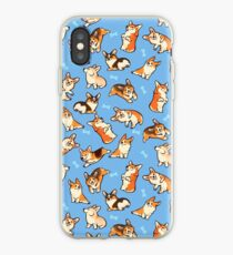 Vinilo o funda para iPhone Jolly corgis en azul