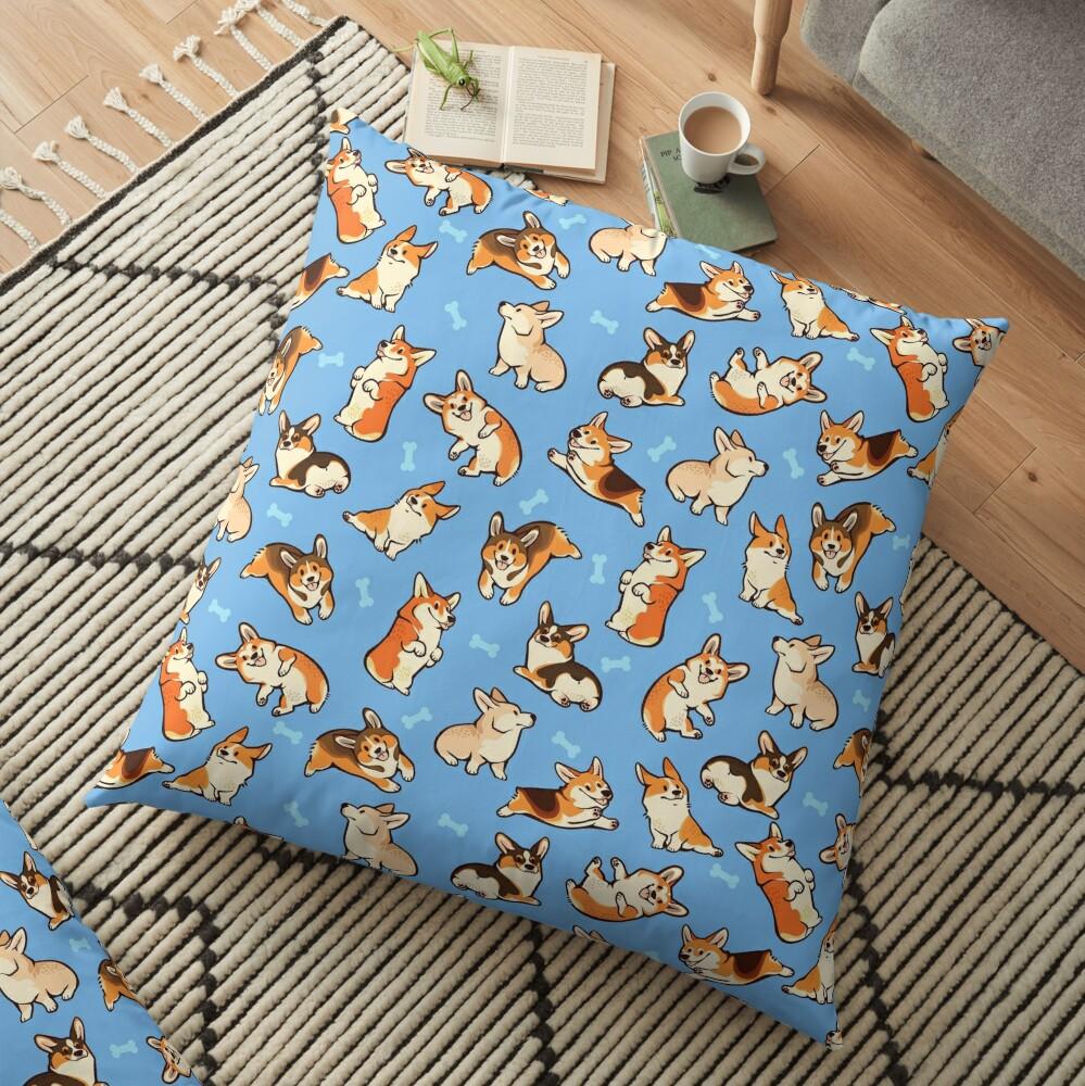Jolly corgis in blue Floor Pillow