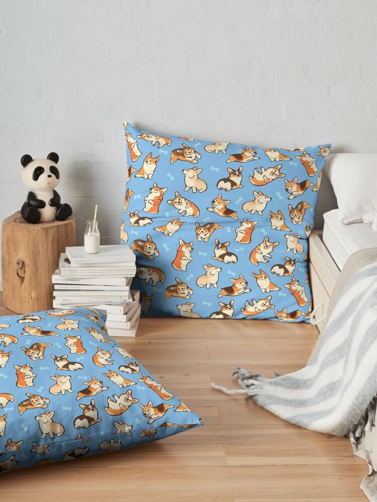 Alternate view of Jolly corgis in blue Floor Pillow