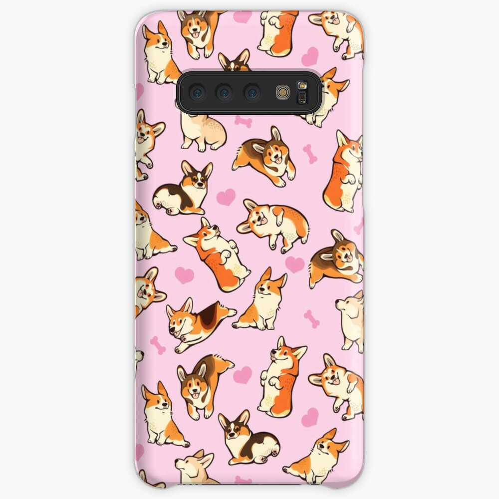 Lovey corgis in pink Case & Skin for Samsung Galaxy