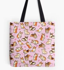 Lovey corgis in pink Tote Bag