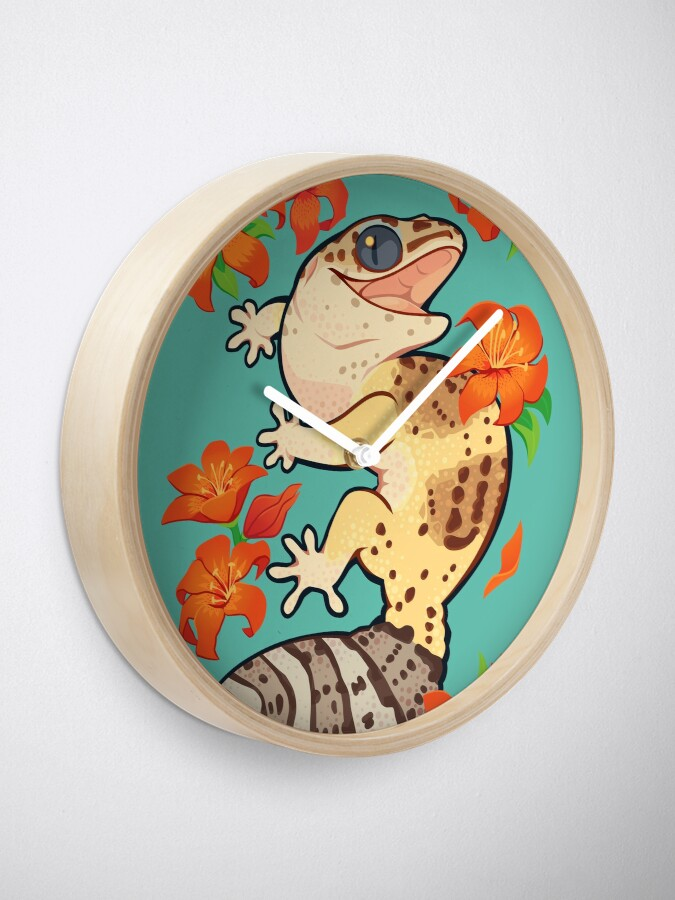 Alternate view of Fire lily gecko Clock