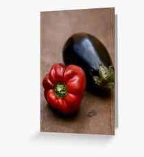 Red Bell Pepper and Eggplant Greeting Card