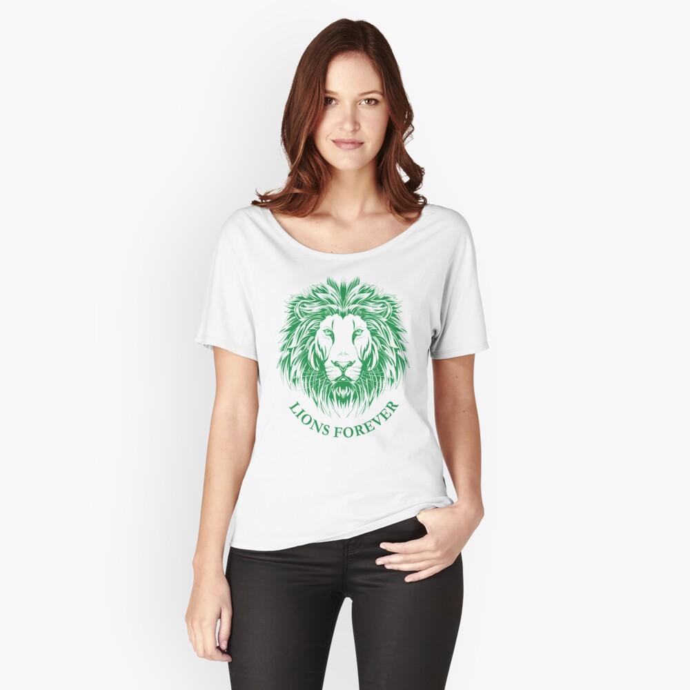 Lions Forever (Grün auf Weiß) Loose Fit T-Shirt
