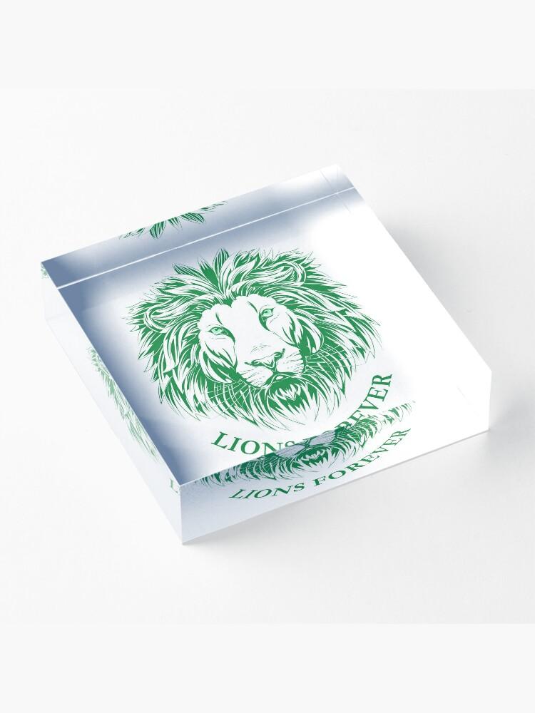 Alternative Ansicht von Lions Forever (Grün auf Weiß) Acrylblock