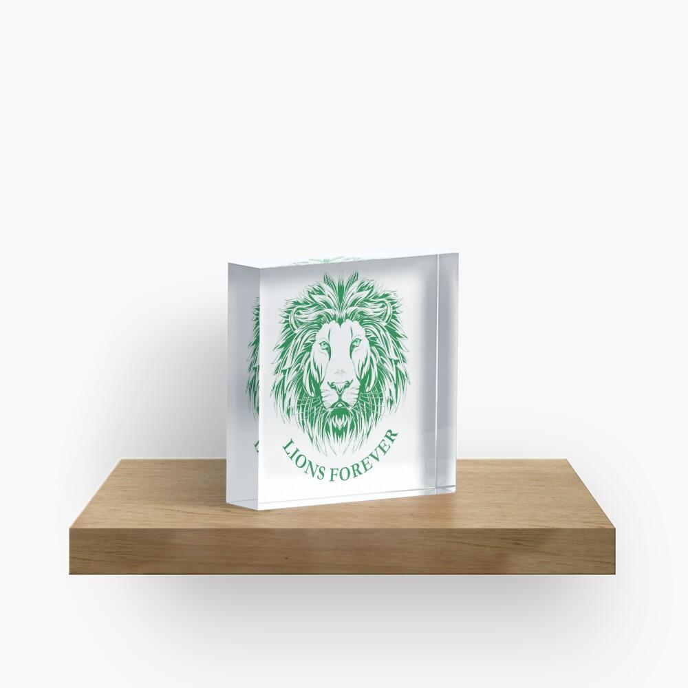 Lions Forever (Grün auf Weiß) Acrylblock