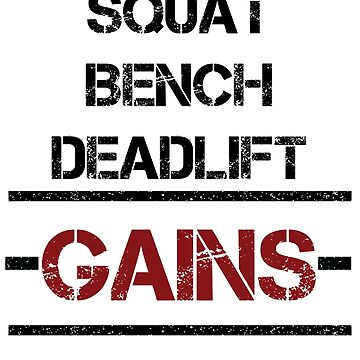 Squat Bench Deadlift Gains Fitness Gym T-shirt by WLSR