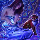 The Art of Letting Go: The Water Bearer and the Fox - Visionary Aquarius Symbolic Art  by Leah McNeir