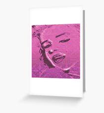 Vintage Glitch Pink Lady Greeting Card