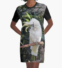 A Friendly Sulfur-Crested Cockatoo Salutes the Photographer Graphic T-Shirt Dress