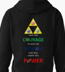 Legend of Zelda Triforce with Goddess Symbols (white text for dark tops/hoodies) T-Shirt
