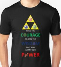 Legend of Zelda Triforce with Goddess Symbols (white text for dark tops/hoodies) Unisex T-Shirt