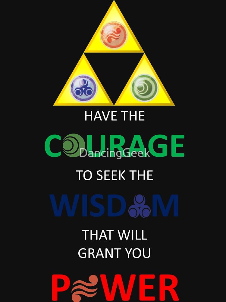 Legend of Zelda Triforce mit Göttin Symbole (weißer Text für dunkle Tops / Hoodies) von DancingGeek