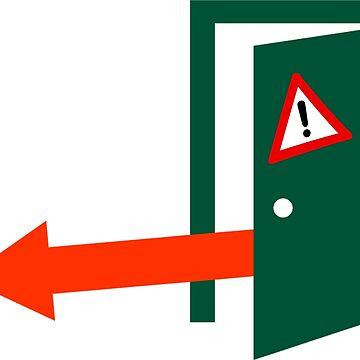 Emergency Door Release Sticker - Left Arrow by RonMarton