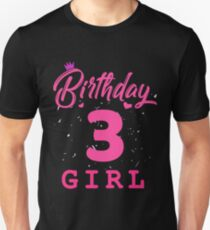 Pink Birthday Girl 3 Unisex T-Shirt