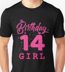 Pink Birthday Girl 14 Unisex T-Shirt