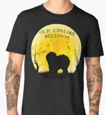 Old English Sheepdog Halloween Design Vintage Moon Bats Trees Men's Premium T-Shirt