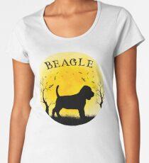 Beagle Halloween Design Vintage Full Moon Bats Trees Women's Premium T-Shirt