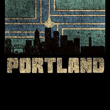Portland Oregon Skyline Flag Vintage Design by House-of-Roc