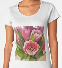 Tulips are better than one 8 - a bouquet of pink and green Women's Premium T-Shirt