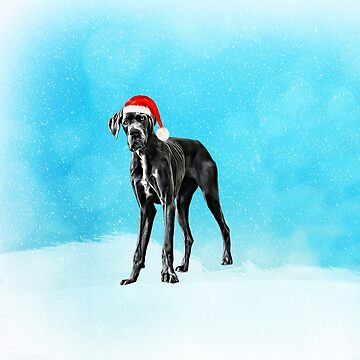 Great Dane Dog in Snow Christmas Santa Hat by aashiarsh