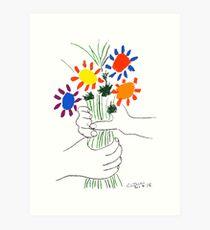 Pablo Picasso Blumenstrauß des Friedens 1958 (Blumenstrauß mit den Händen), T-Shirt, Artwork Kunstdruck