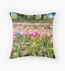 Tulips are better than one 12 - especially a whole garden in pink Throw Pillow