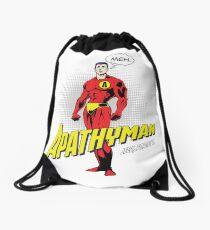 Apathy Man, Funny Superhero Parody, Lazy, Meh Drawstring Bag