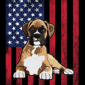 Boxer Dog USA Flag Distressed Design by kudostees