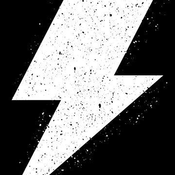 Lightning Bolt Cool Rock Logo White Distressed by decentdesigns